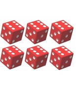 6x JUMBO Dice Six Sided D6 25mm Standard Square Edged Die RED With White... - $9.99