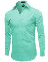 Omega Italy Men's Long Sleeve Solid Barrel Cuff Aqua Button Up Dress Shirt  4XL image 4
