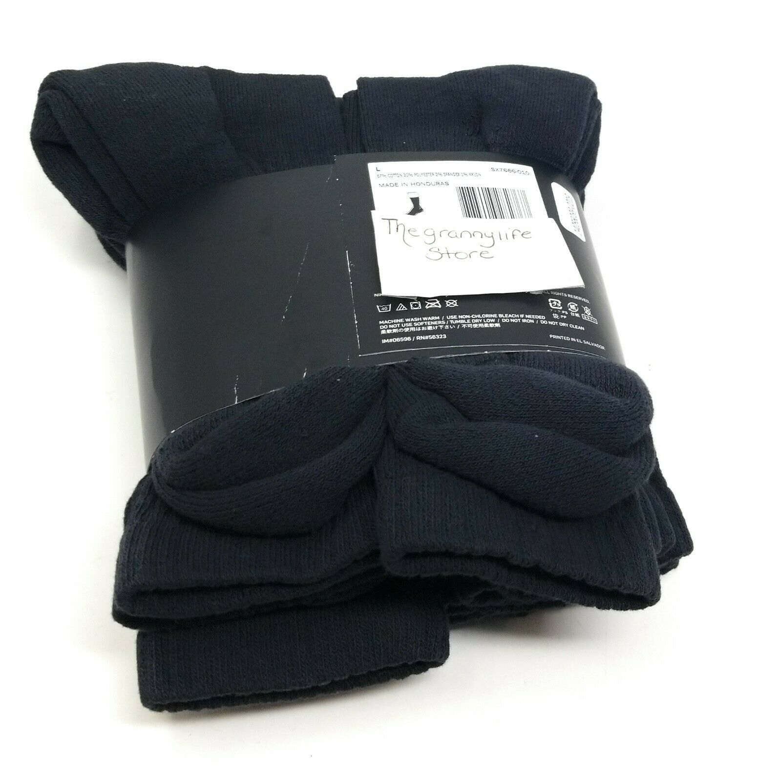 Nike Crew Socks L Men 8-12 Women 10-13 Black Cotton Cushioned Dri Fit 6 Pairs image 4