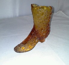 Fenton Daisy and Button Amber Tall Glass Boot Figurine 1990-co Slipper Shoe Vtg - $12.99