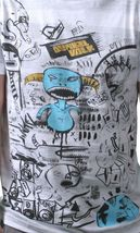 Dunkelvolk Mens Optic White Peruvian Street Art Chrome Blue Monster T-Shirt NWT image 3