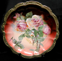 PM Bavaria Porcelain Round Dish Pink Roses Heavy Gold Trim Extra Large 1... - $75.00