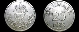 1951 Danish 25 Ore World Coin - Denmark - $8.99