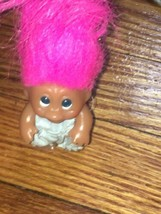 "Vintage Thomas Dam Troll 1965 3 1/2""  W/ Pink Hair & Light Blue Dress - $23.00"