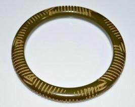 VTG Olive Green BAKELITE TESTED Carved Bangle Bracelet (C) - $198.00