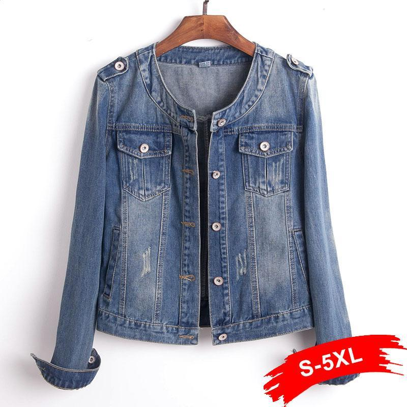 Primary image for Plus Size Round Collar Jeans Jacket 4XL 5XL Sweet Women Light Blue Bomber Short
