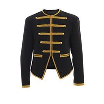 Men's Steampunk Military Jacket Golden and Black Military Coat Jacket - $97.22