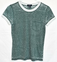 Forever 21 Women's Heathered Green Crew Neck T-Shirt w Front Pocket Size S