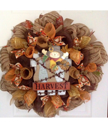 Adorable Scarecrow With Gourds and Flowers Deco Mesh Harvest Or Halloween  Wreat - $89.99