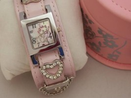 Disney Aristocats Marie with charm Wrist watch Pink Japan Limited Ladies  - $60.39