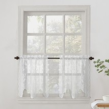 "No. 918 Alison Floral Lace Sheer Kitchen Curtain Tier Pair, 58"" x 24"", W... - $3.67"