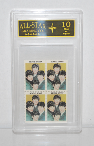 1964 Hallmark Stamps (Entire Band) Plate of 4  *Graded 10 Beatles Memorabilia