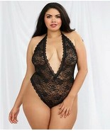 Dreamgirl BLACK Plus Size Lace Halter Teddy , US One Size - $14.36