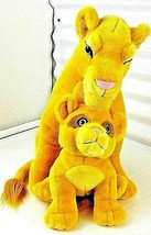 "Vintage The Lion King 18"" Large Plush Sarabi With Baby Simba By Caltoy - $59.08"