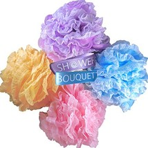 Loofah Bath Sponge Large Lace Set by Shower Bouquet: Mesh Pouf - Full 60g 4 Pack