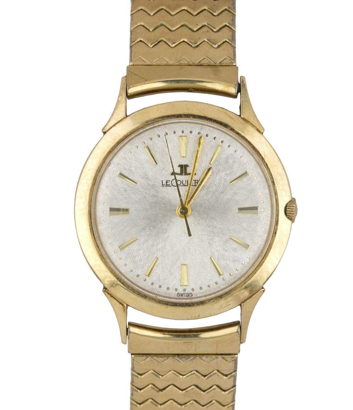 Vintage Jaeger LeCoultre 10K Yellow Gold Filled Dress Silver Lugs Watch 34mm