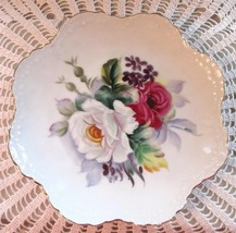 Lefton China Plate Roses Japan 6926 Scalloped Edge Gold Trim Hand Painted Mint - $11.00