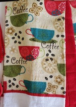 Red Coffee Kitchen Set 7pc Towels Potholders Dishcloths Colorful Cafe Cups image 2