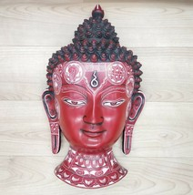 Buddha Mask Wall hanging Art Sculpture painting & carving mask Decor Rel... - $138.85