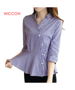 WICCON Blue And White Striped Shirt Women 2018 New Autumn Fashion OL Off... - $42.00