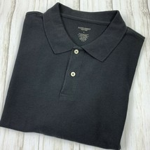 Saddlebred Mens Polo Shirt Size XL Solid Black Short Sleeve Cotton Blend  - $10.88