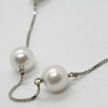 18K WHITE GOLD NECKLACE, VENETIAN CHAIN ALTERNATE WITH AKOYA WHITE PEARLS 8.5 MM image 2
