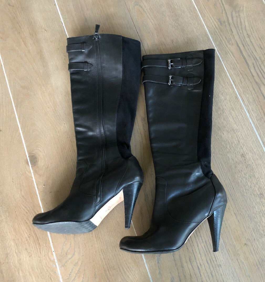 bf85bb32e6b0 S l1600. S l1600. Previous. Cole Haan Women s 8.5 B NikeAir Black Leather  Tall Zip Up Knee Boots