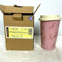 Longaberger Pottery Horizon Of Hope Travel Cup New 32030 Mug with Lid - $14.84