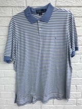 Polo By Ralf Lauren XXL White And Blue Striped Pima Cotton Polo - $10.40