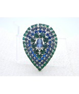 VTG Large Silver Tone Green Blue Rhinestone 3D Pin Brooch - $74.25