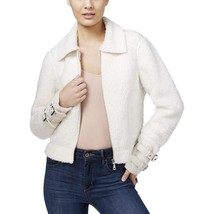 Guess Women's Nell Faux Fur Contrast Jacket Ivory Size XLarge - $78.21