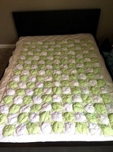Handmade Puffy Baby Quilt White & Light Green with Satin Bows & Lace Eye... - $98.93