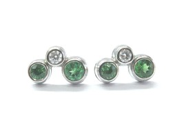 Tiffany & Co Platinum Green Tourmaline Diamond Bubble Earrings .56CT - $1,930.50
