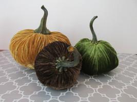 New Set of 3 Velvet Brown, Green & Dijon Halloween Squash Fall Decor Pum... - $74.84