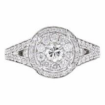 0.95ct Pave Diamond 14k White Gold Round Ring Size 7 - £1,054.22 GBP