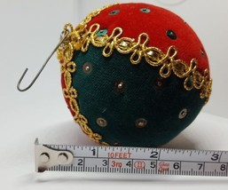 Vintage Fabric Covered Christmas xmas Tree Bulb ball Ornament Pre-owned - $14.80