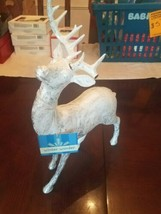 "winter wonder deer stag reindeer silver and white 8"" long 13 inches high - $49.38"