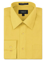 Omega Italy Men's Long Sleeve Solid Regular Fit Yellow Dress Shirt - S