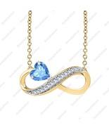 Heart Shaped Infinity Pendant Necklace Blue Topaz & Diamond 14K Yellow G... - $68.79