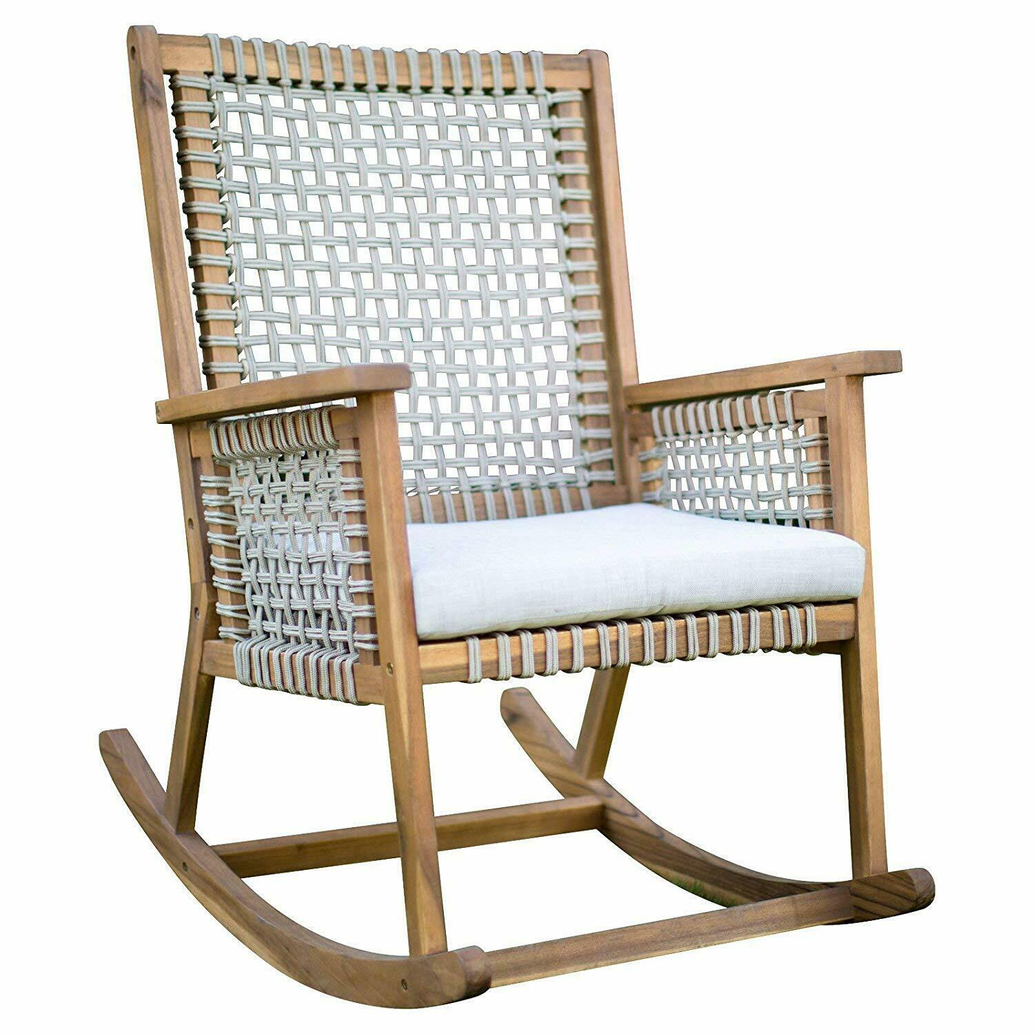 Urban Rustic Wood & Rope Outdoor Patio Rocking Chair Rocker with Seat Cushion