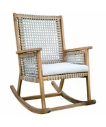 Urban Rustic Wood & Rope Outdoor Patio Rocking Chair Rocker with Seat Cu... - $369.45