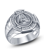 Letter A initial Mens Wedding Engagement Pinky Ring 14k White Gold Fn 925 Silver - $107.49