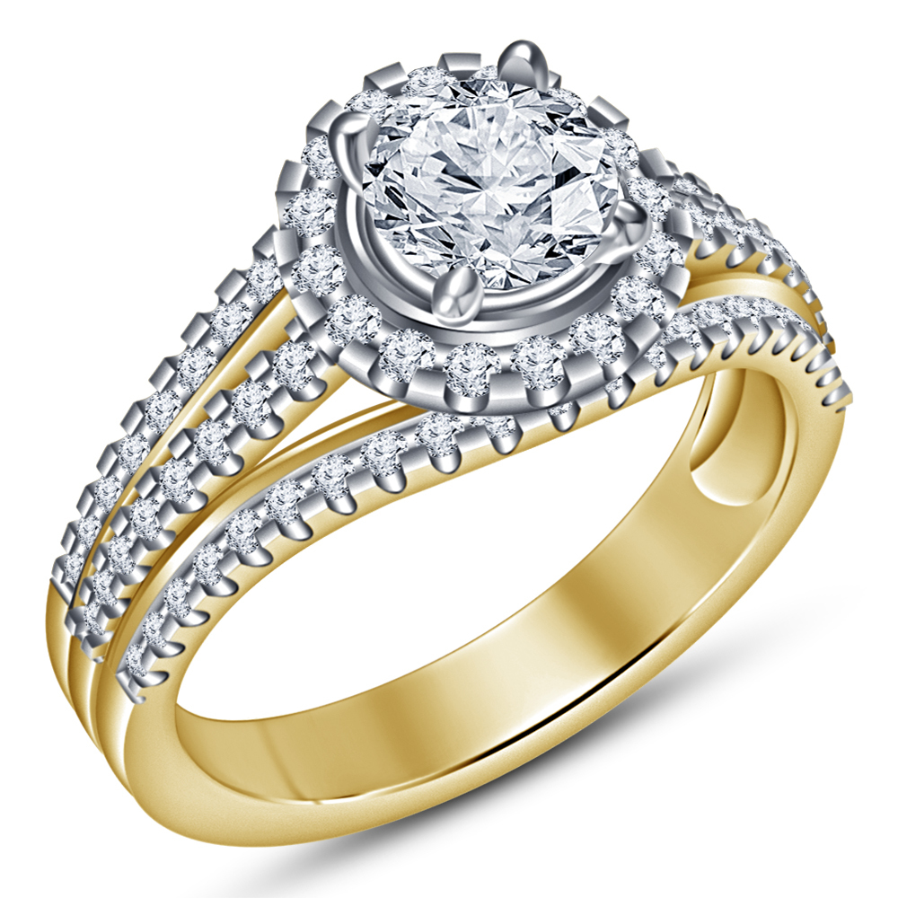 Round Cut White CZ 14k Yellow Gold Plated 925 Silver 2Pc Bridal Wedding Ring Set