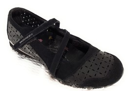 Skechers Women's Biker Mary Jane Black Suede and Leather Cut Out Designs... - $21.32