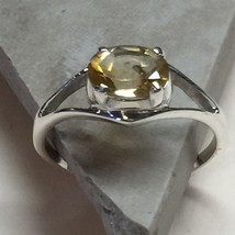 Genuine 2ct Citrine 925 Solid Sterling Silver Solitaire Ring sz 6 - $29.69