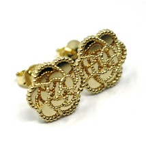 18K YELLOW GOLD BOTTON FLOWER DAISY EARRINGS 14 MM, DOUBLE LAYER WORKED MIRROR image 1