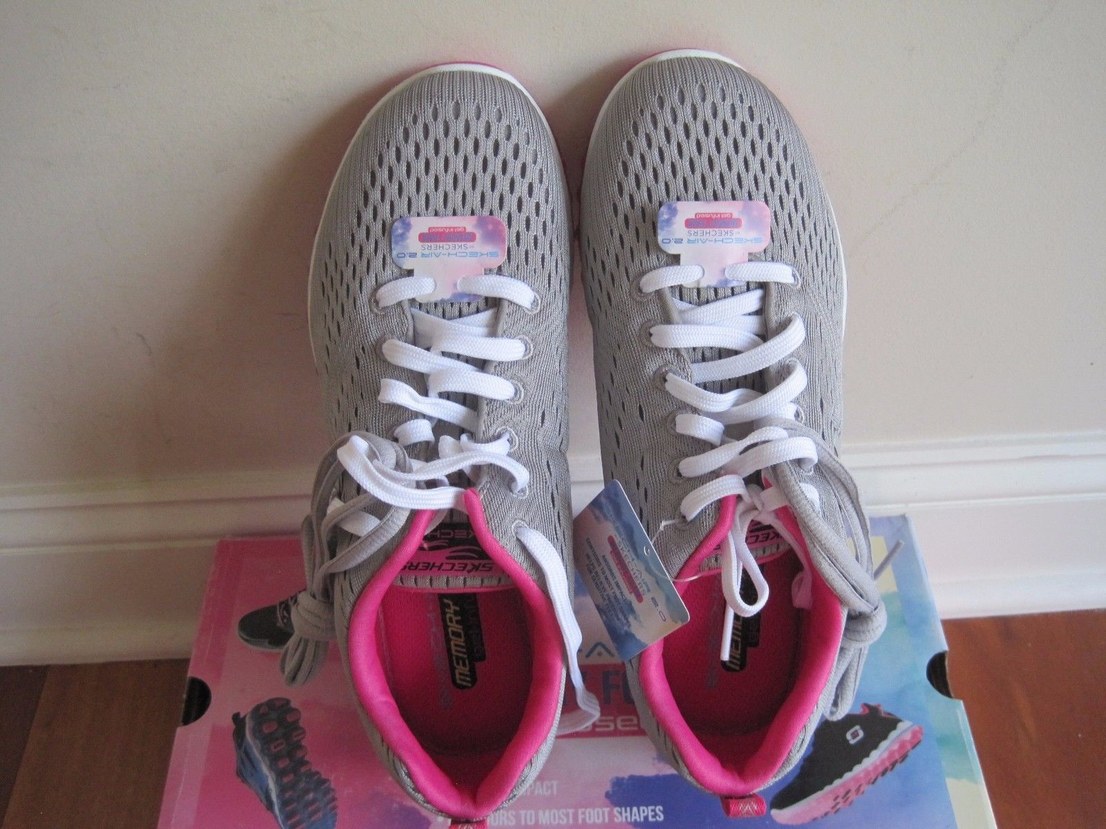 "BNIB Skechers®  ""Skech-Air 2.0"" Aim High Training Shoes, Women, grey/pink, $85"