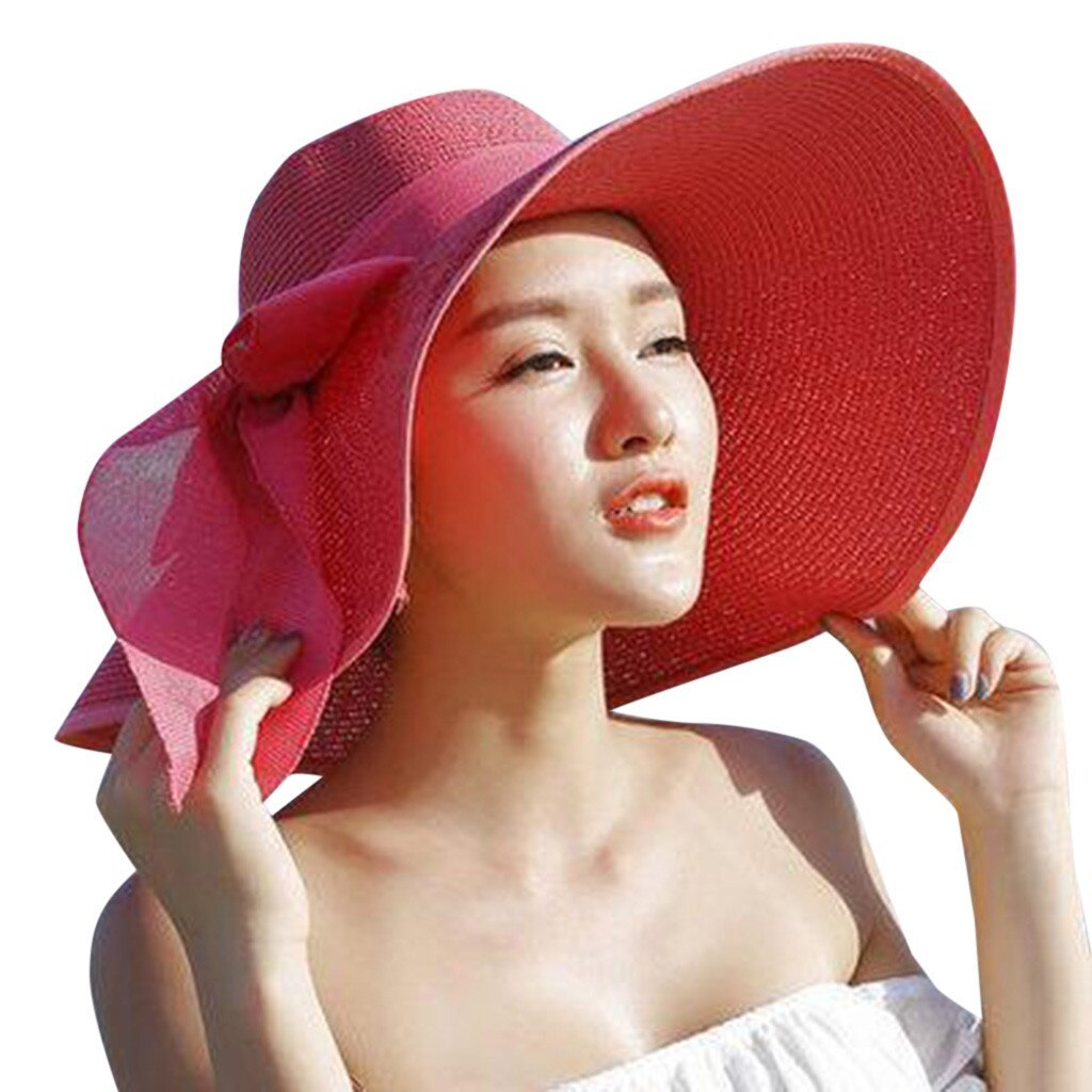 CHAMSGEND Women Big Brim Straw Hat Sun Floppy Wide Brim Hats New Bowknot Folding