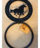 "Towel Ring Western Horse Motif Decor 7""  Cast Iron Metal - $16.83"