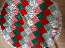 """Handmade Christmas Tree Skirt Holiday 48"""" Holly Patches Red Green White - $40.55"""
